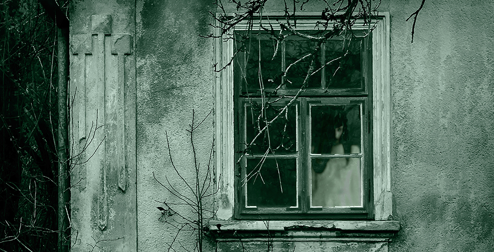 Ghost looking out a window